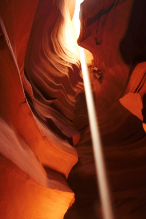 Amazing Light Beam in Antelope Canyon, Arizona ,USA  photo