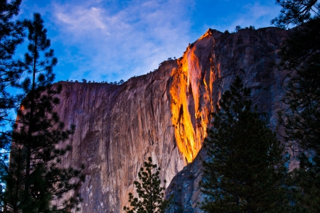 Horsetail falls lit up during sunset in Yosemite National Park photo
