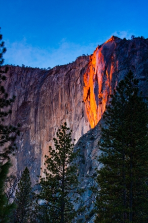 Horsetail falls lit up during sunset in Yosemite National Park