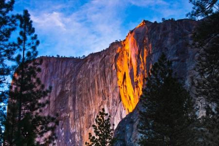 Rock Lit up during Sunset in Yosemite National Park,California photo