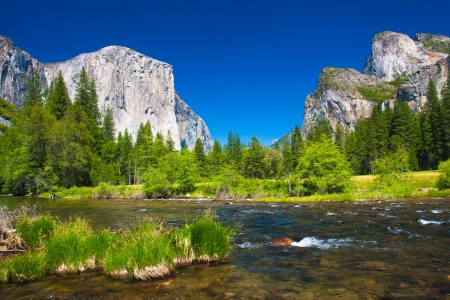 Yosemite Valley with El Capitan Rock and Bridal Veil Waterfalls photo