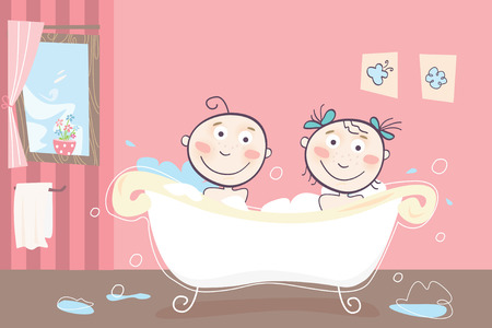 sibling: Childrens bath - Vector illustration of boy and girl taking bath.