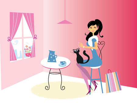 Coffee time - Lifestyle fashion illustration – in the coffee bar.