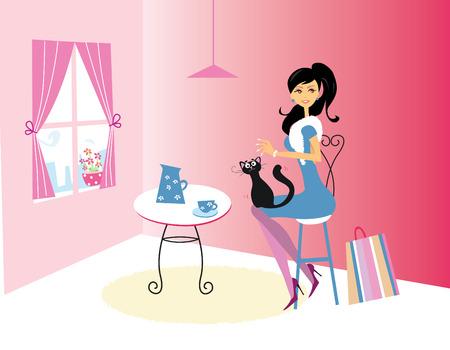 Kaffee-Zeit - Lifestyle Fashion Illustration in der Kaffee-Bar.