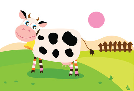 Happy cow - Vector illustration of cow on pasture. Vector