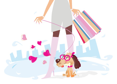 Ladies on shopping - lady with her lady dog on shopping. Vector illustration. Vector