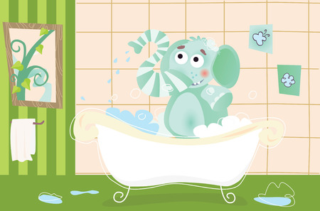 Elephant is bathing! Vector illustration. See more of my portfolio! Vector