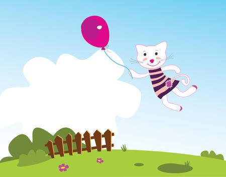 pink bushes: Flying kitten. Vector illustration. See more of my portfolio! Illustration