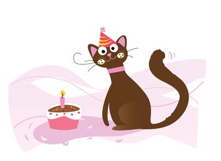 Happy birthday, cat! Vector illustration. See more of my portfolio! Vector