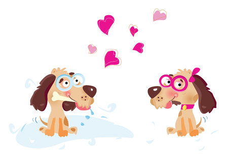Dogs in Love. Vector Illustration.