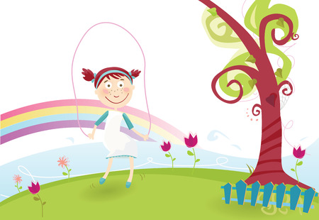 Spring is here! Wonderful spring atmosphere. Vector illustration. 일러스트