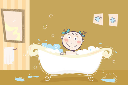 little girl bath: Girl is bathing! Vector illustration.