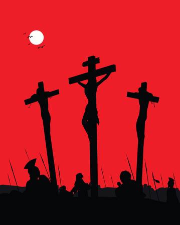christ blood: Jesus Christ - Crucifixion. Vector Illustration.