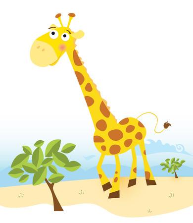 Giraffe. Vector Illustration of funny animal.