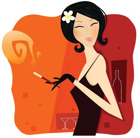 Tobacco passion. Young woman holding smoking cigar. Vector Illustration. Vector