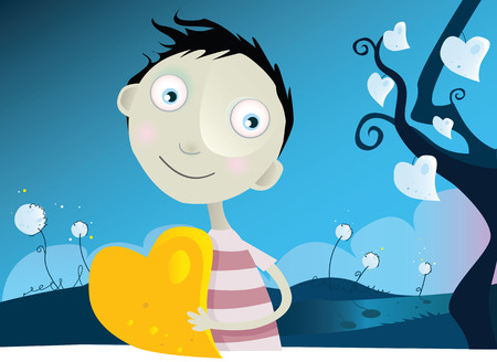 Tree of love. Small boy with yellow heart. Vector Illustration.