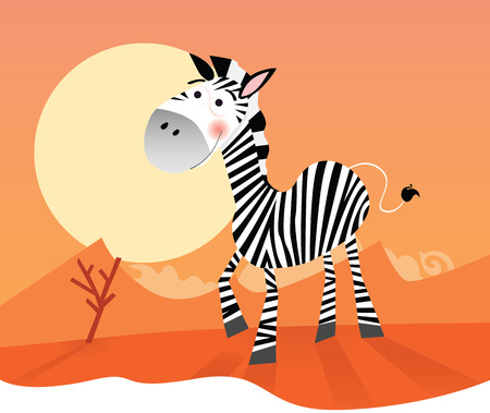 Funny zebra. Vector Illustration of safari animal.