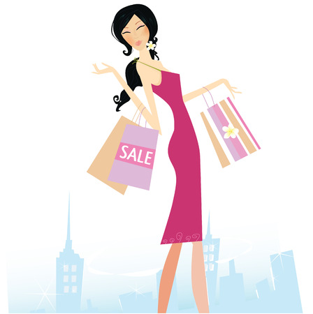 Shopping star. Woman with shopping bags in town. Vector Illustration. Vector