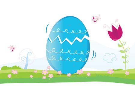 maybe: Happy Easter! Easter egg. Whats in? Maybe small chicken? Vector Illustration. Illustration