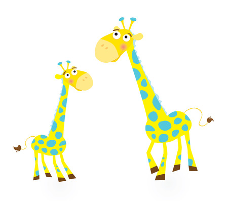 Giraffe family. Vector Illustration of giraffe mother and son. See similar pictures in my portfolio! Vector