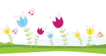 Tulips. Spring flowers. Vector Illustration. Vector