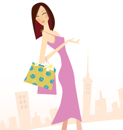 Spring shopping. Vector Illustration of woman with shopping bags. Vector