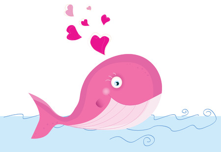 Whale in love. Vector Illustration of sea animal. Vector