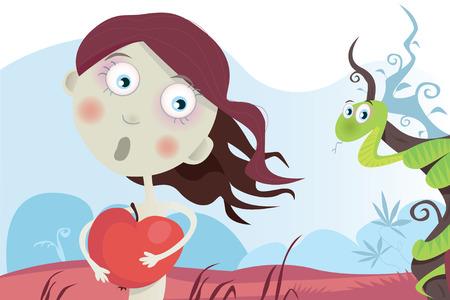 Eva mit Apfel. Erste S�nde. Vector illustration.