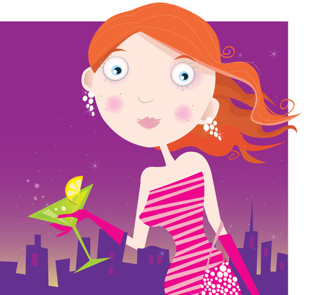 Happy small Girl with birthday present. Vector Illustration Stock Vector - 4670630