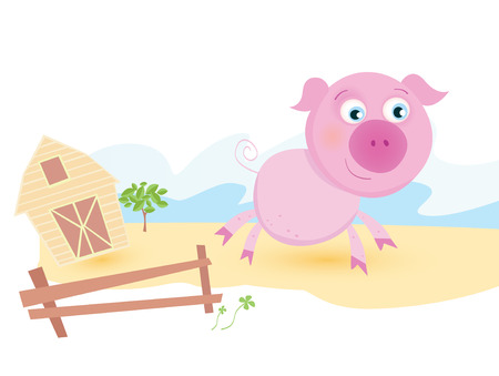 farmhouse: Pig on farm. Funny animal with farmhouse in background.  Vector cartoon Illustration.