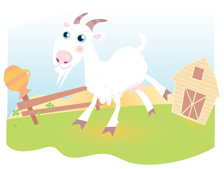 Goat on farm. Funny animal.  Vector cartoon Illustration. Stock Vector - 4696690