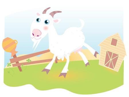baby goat: Goat on farm. Funny animal.  Vector cartoon Illustration.