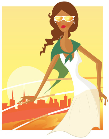 Holiday trip. Girl on boat during vacation travel adventure. Art Vector Illustration. Vector