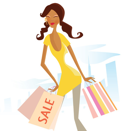 mulatto: Sale now! Woman with shopping bags in city. Vector Illustration.