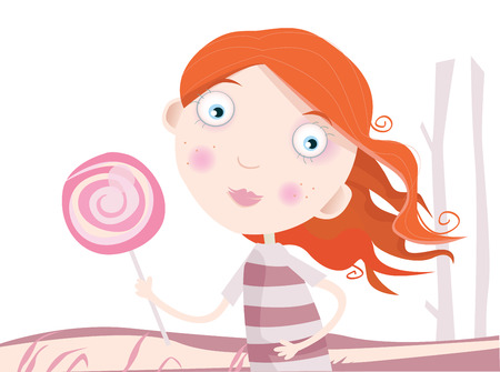 Child with lollipop. Small girl with sweet lollipop. Art Vector Illustration. Vector