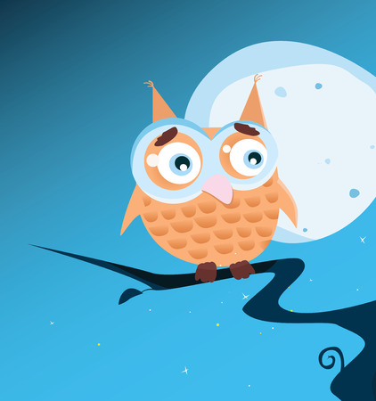 Owl on tree. Owl during night sitting on tree branch. Art vector Illustration. Vector