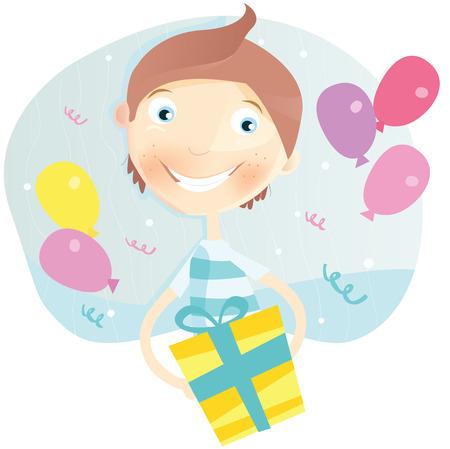 begin: Happy Birthday, boy! Birthday party begin! Happy small boy with birthday gift. Art Vector Illustration.