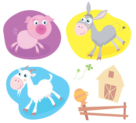 Farm animal pack – pig, goat, donkey. Funny baby animals. Includes also Farmhouse, fence and four-leaf clover. Vector Illustration. Vector