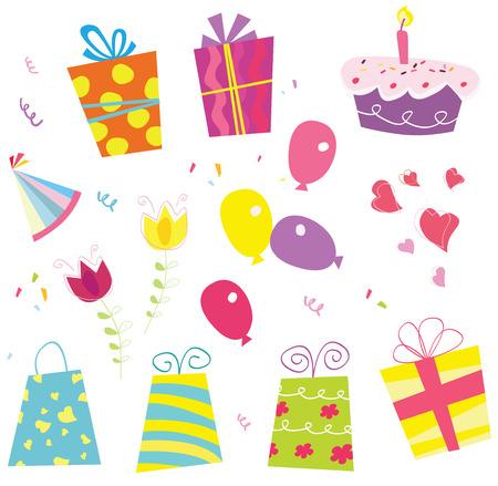 feliz cumplea�os caricatura: La fiesta de cumplea�os de comenzar! Cumplea�os conjunto de vectores. Incluyendo regalos de cumplea�os, globo, flores, pastel, lazo y sombrero de cumplea�os.