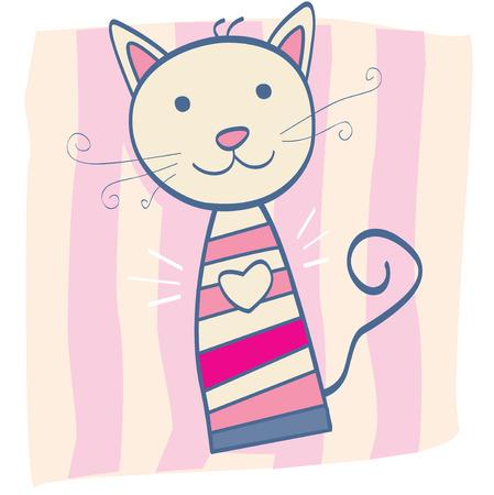 Pink kitten. Stripped small cute baby kitten. Vector Illustration. Illustration