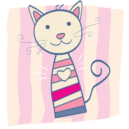 Pink kitten. Stripped small cute baby kitten. Vector Illustration. Vector