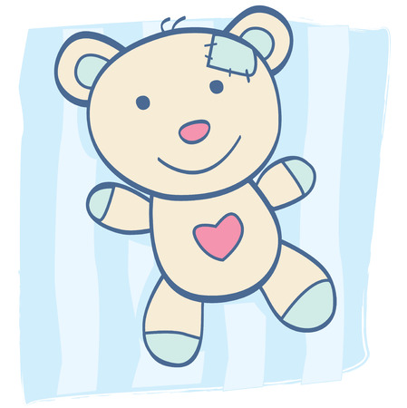 toy bear: Blue Teddy bear. Childrens Toy. Bear with heart, can be symbol of Love. Art Vector Illustration.