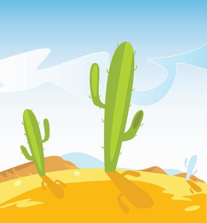 cactus desert: Westelijke woestijn met Cactus planten. Western stijl vector illustratie van Mexico woestijn. Zand terrein met Cactus planten. Stock Illustratie