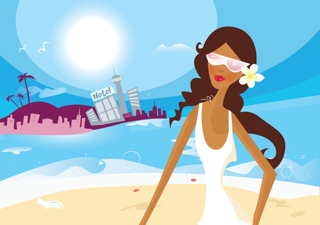 gold coast: Hot summer girl on vacation. Summer is coming!Beautiful sexi girl on beach. Art vector Illustration.