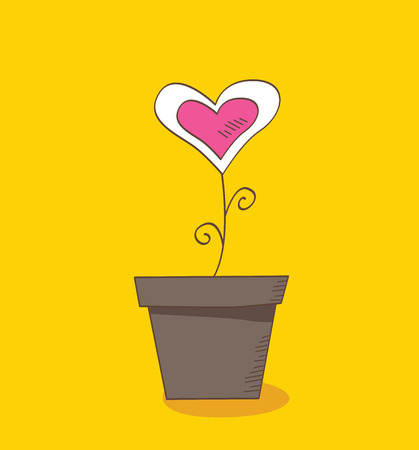 Flower of love. Beautiful love flower – romantic symbol of love. Vector Illustration. Vector