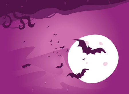 Bat night. Dark night with full moon. Bats are flying around. Art vector Illustration. Stock Vector - 4848948