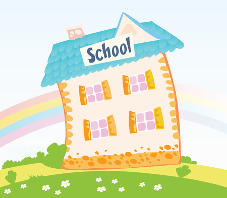 Little Schoolhouse in nature. Back to childhood – vector Illustration of School building with blue roof. Colorful Rainbow in background.