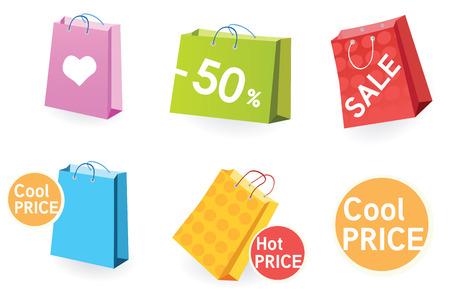 retail shop: Gran venta! Bolsas de la compra. Vector pack conjunto de la cesta. Vectores