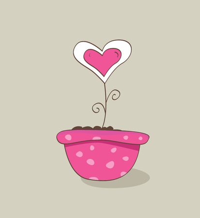 Wonderful love hat. Vector Illustration of love flower growing from hat. Vector