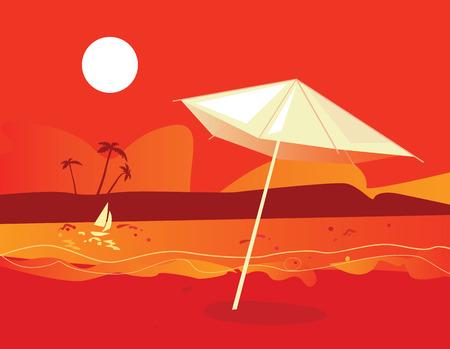 Tropical beach sunset. Vector Illustration of tropical sunset beach with umbrella. Stock Vector - 4888494